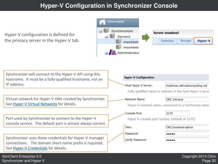 Hyper-V Configuration in Synchronizer Console