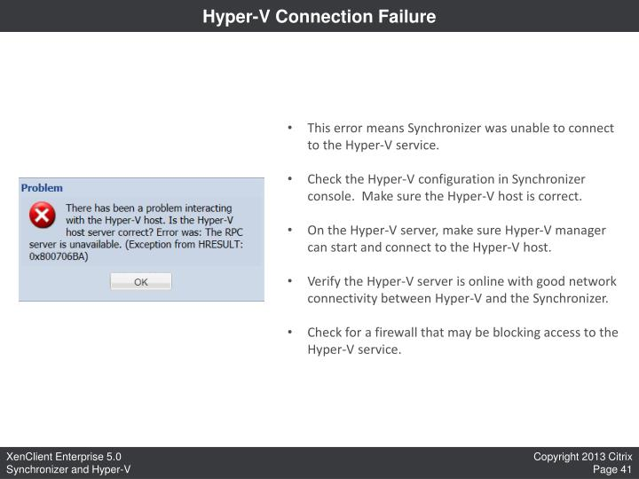 Hyper-V Connection Failure