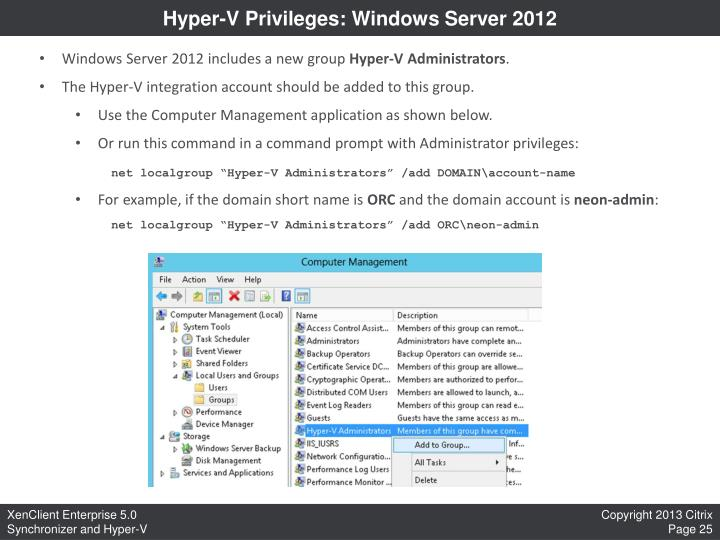 Hyper-V Privileges: Windows Server 2012