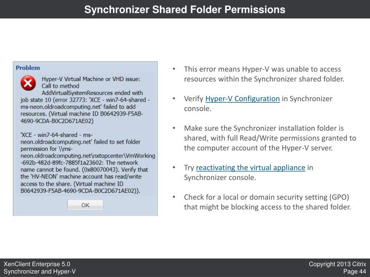 Synchronizer Shared Folder Permissions