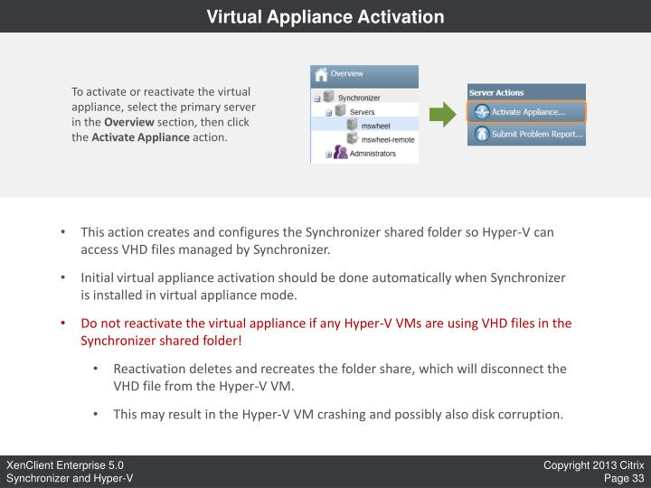 Virtual Appliance Activation