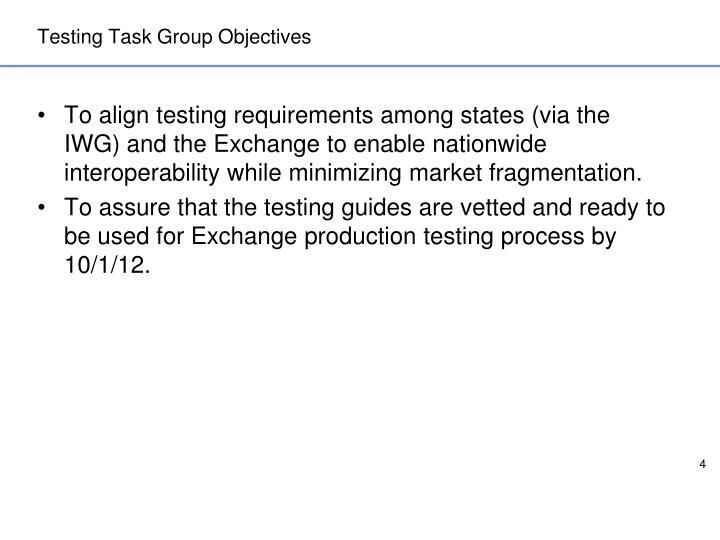 Testing Task Group Objectives