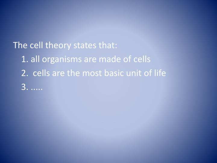 The cell theory states