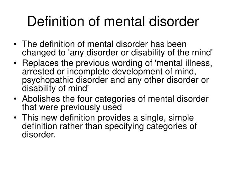 Definition of mental disorder