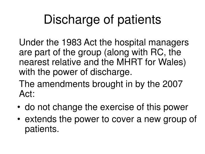 Discharge of patients
