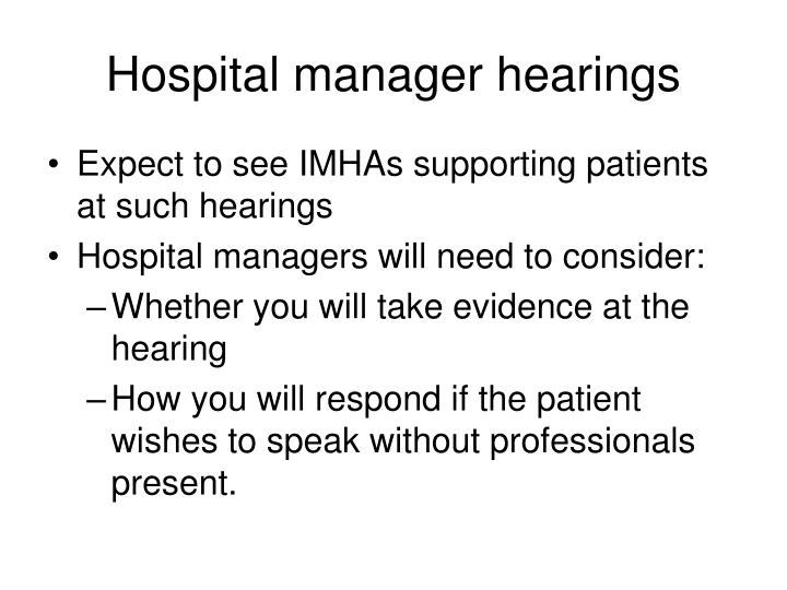 Hospital manager hearings