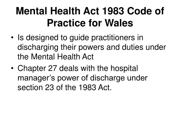 Mental Health Act 1983 Code of Practice for Wales