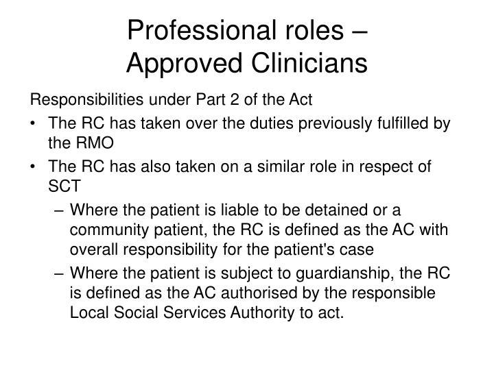 Professional roles –