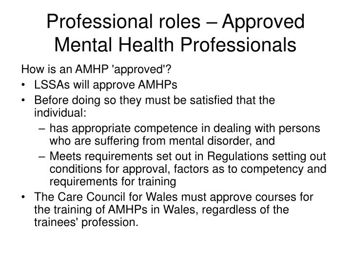 Professional roles – Approved Mental Health Professionals