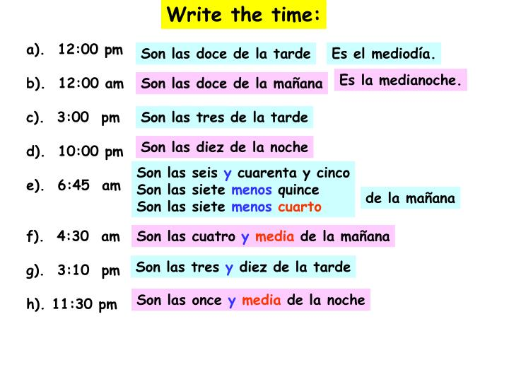 Write the time: