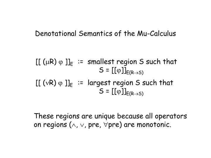 Denotational Semantics of the Mu-Calculus