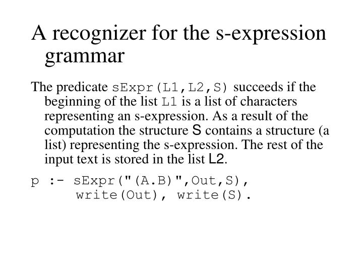 A recognizer for the s-expression grammar