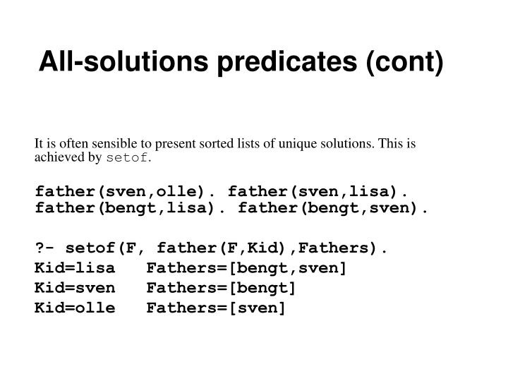 All-solutions predicates (cont)