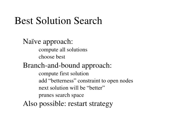 Best Solution Search