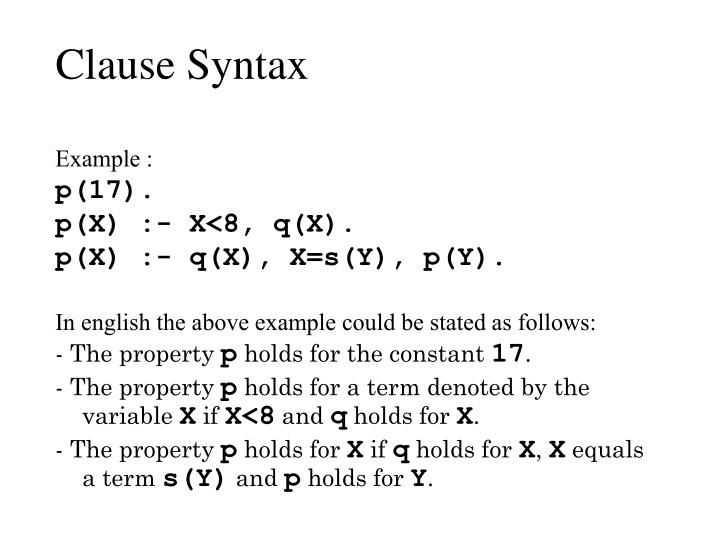 Clause Syntax