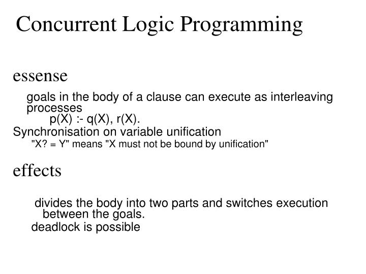 Concurrent Logic Programming