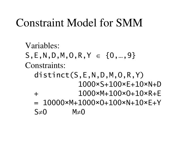 Constraint Model for SMM