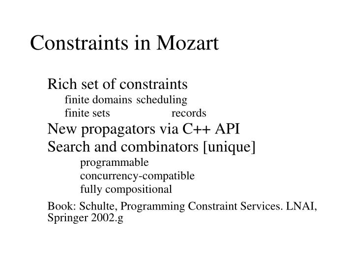 Constraints in Mozart