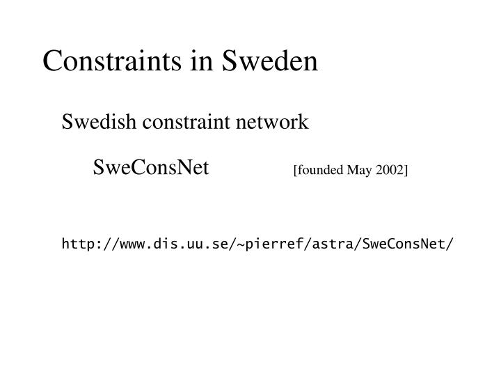 Constraints in Sweden