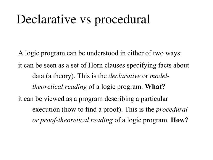 Declarative vs procedural