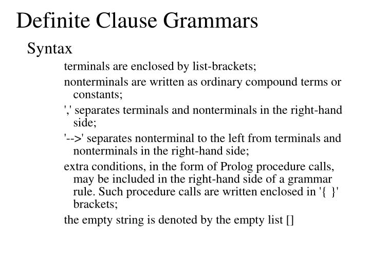 Definite Clause Grammars
