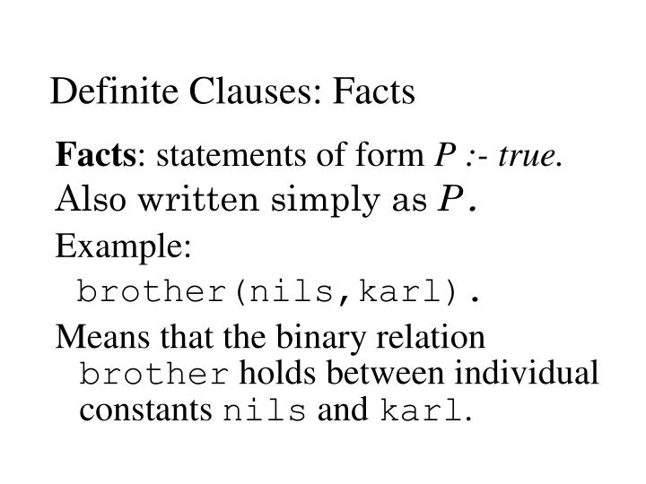 Definite Clauses: Facts