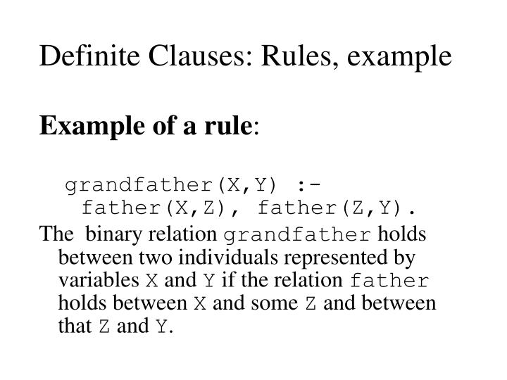 Definite Clauses: Rules, example