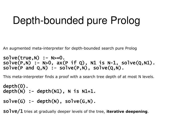 Depth-bounded pure Prolog