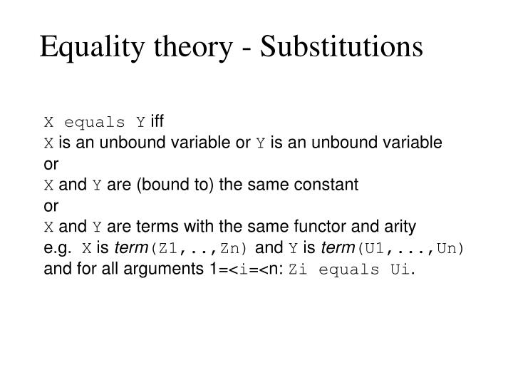 Equality theory - Substitutions