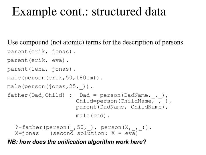 Example cont.: structured data