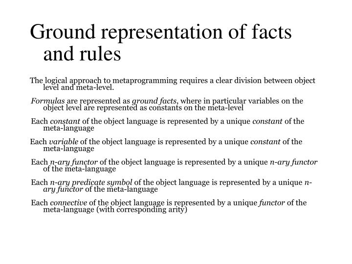 Ground representation of facts and rules