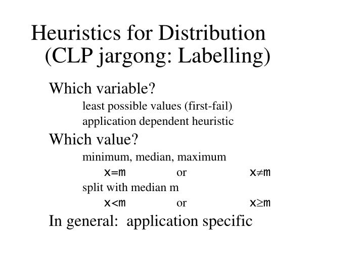 Heuristics for Distribution