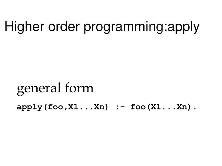 Higher order programming:apply