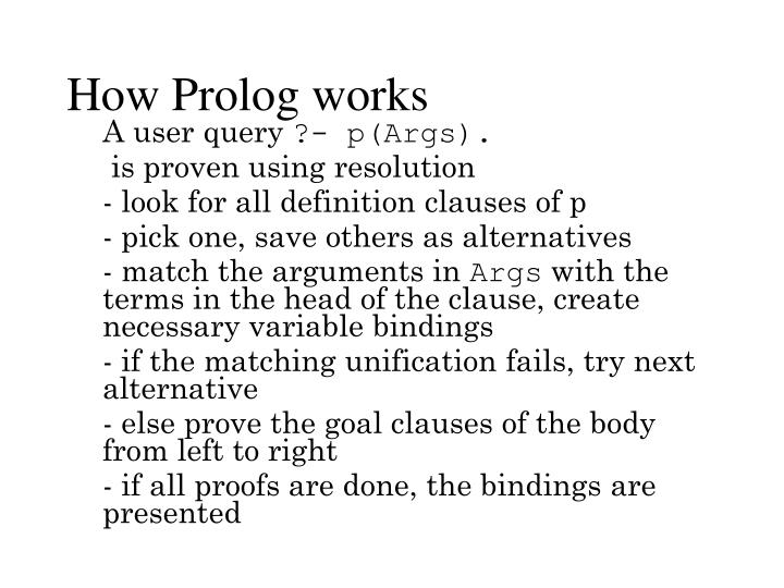How Prolog works