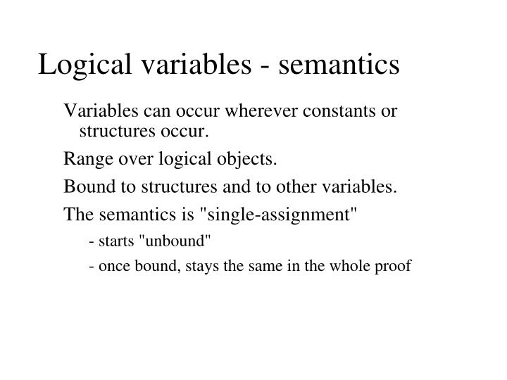 Logical variables - semantics