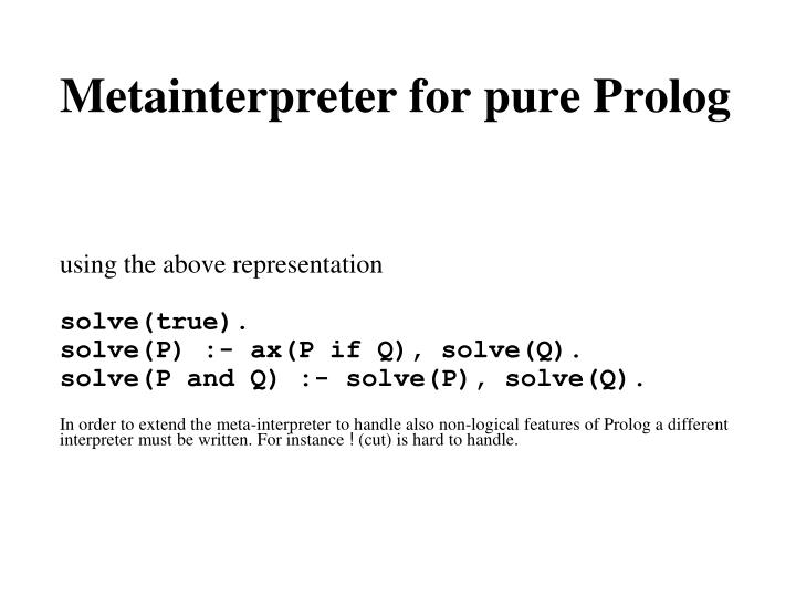 Metainterpreter for pure Prolog