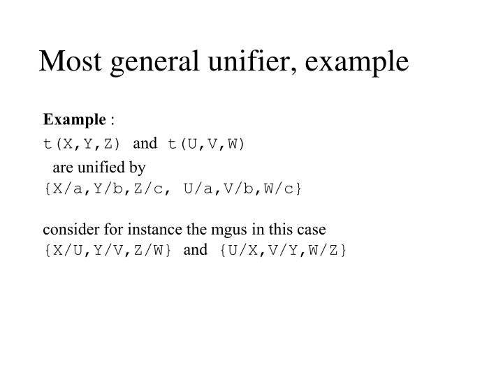 Most general unifier, example