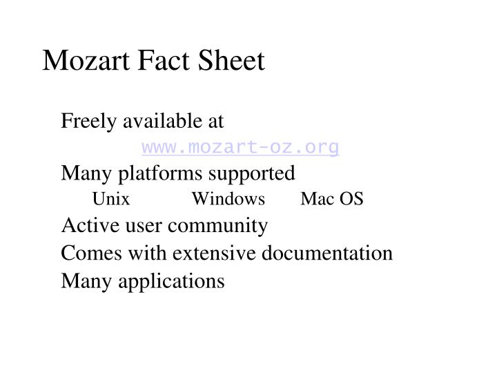 Mozart Fact Sheet