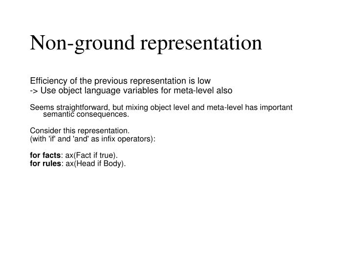 Non-ground representation