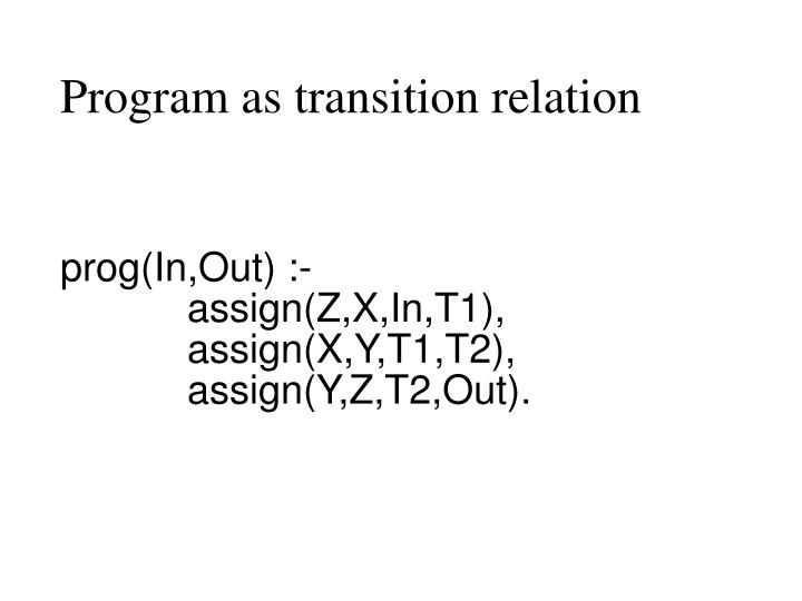Program as transition relation
