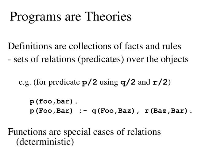 Programs are Theories