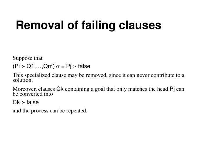 Removal of failing clauses