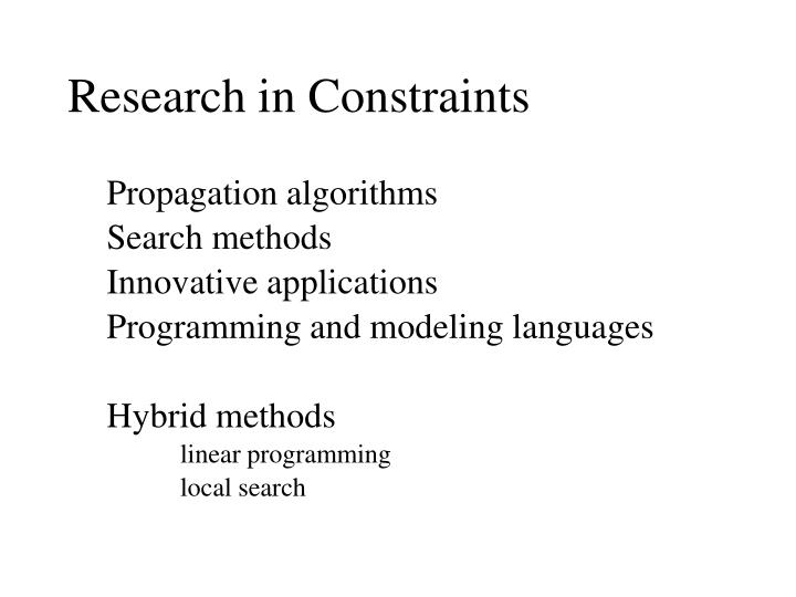 Research in Constraints