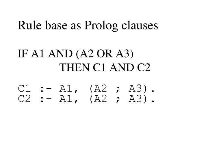 Rule base as Prolog clauses