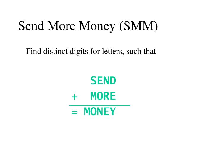 Send More Money (SMM)