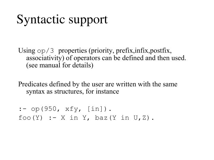 Syntactic support