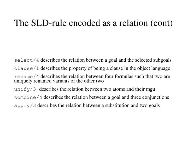 The SLD-rule encoded as a relation (cont)