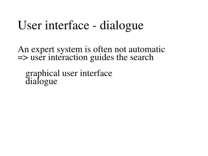 User interface - dialogue