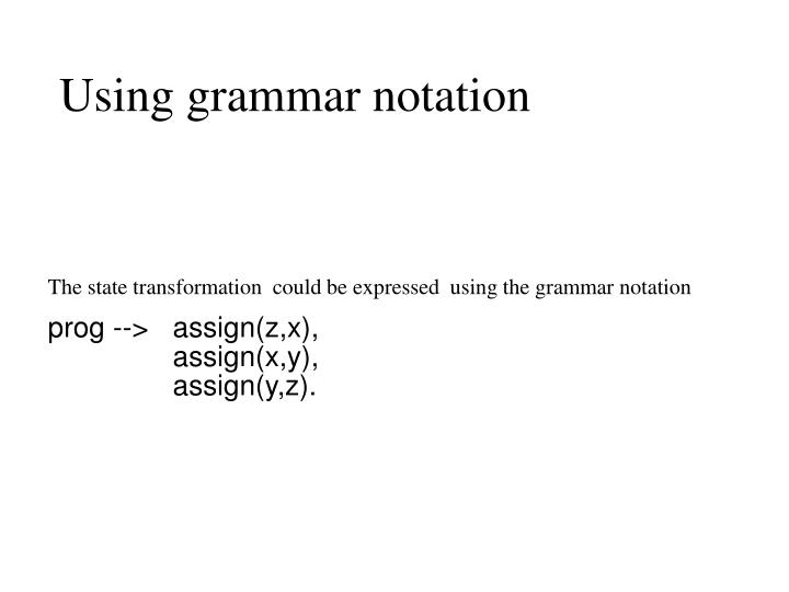 Using grammar notation