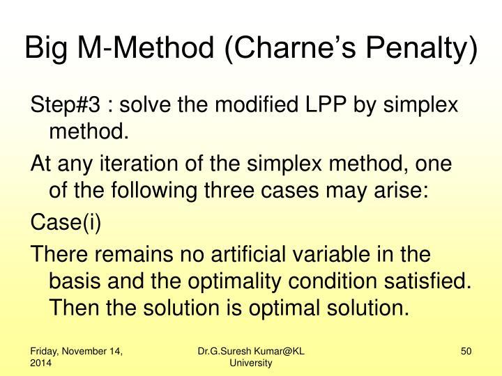 Big M-Method (Charne's Penalty)